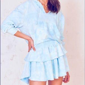 LoveShackFancy Tie Dyed Ruffle Mini Skirt Petite